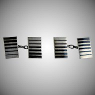 Art Deco Sterling Silver Black Enamel Double Sided Cufflinks