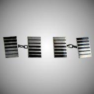 Art Deco Sterling Silver Black Enamel Double Sided Cufflinks