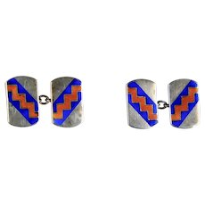 English Art Deco Sterling Double Sided Cufflinks