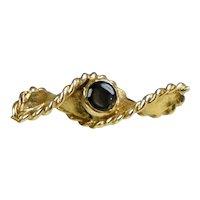 Vintage Large 18K Gold Black Sapphire Tie Tac Pin