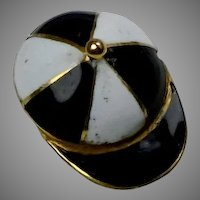 Vintage 18K Gold Enamel Jockey Cap Tie Tac Lapel Pin