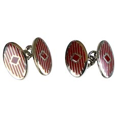 Vintage Art Deco Double Sided Enamel Cufflinks