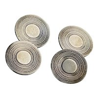 Art Deco Sterling Silver Double Sided Cufflinks