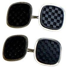 Art Deco Black Onyx Double Sided Checkerboard Cufflinks by Swank