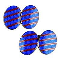 Art Deco Sterling Red & Blue Enamel Double Sided Cufflinks