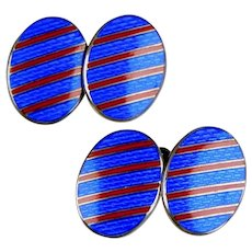 Art Deco Sterling Red & Blue Enamel Double Sided Cufflinks