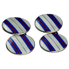 Vintage Art Deco Sterling Enamel Double Sided Cufflinks
