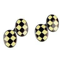 Art Deco Sterling Enamel Argyle Double Sided Cufflinks