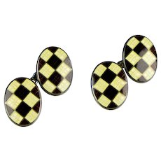 Art Deco Sterling Enamel Argyle Double Sided Cufflinks