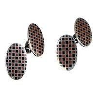 Art Deco Sterling Enamel Checkerboard Double Sided Cufflinks