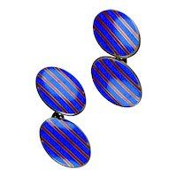 Art Deco Sterling Enamel Double Sided Cufflinks