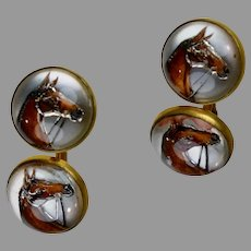 Art Deco Reverse Crystal Painted Horse Cufflinks