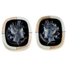 Large Victorian GF Onyx Intaglio Cuff Buttons
