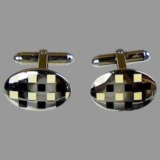 English Art Deco Sterling Enamel Cufflinks