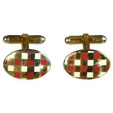 Vintage English Deco Style Vermeil Enamel Cufflinks