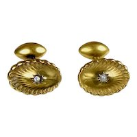 Art Deco 18K Gold Diamond Cufflinks