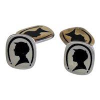 Art Deco Sterling Silver Double Sided Silhouette Cufflinks
