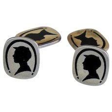 Art Deco Sterling Silver Double Sided Silhouette Cufflinks
