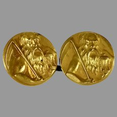 Victorian Gold Filled Father Time Cufflinks