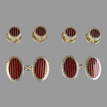 Deco Sterling Enamel Double Sided Cufflinks and Studs Set