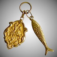 Vintage 18K Gold Charms Medieval Knight On Horse, Fish