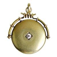 Victorian 14K Gold Locket Pendant with Large Diamond