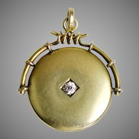 Victorian 14K Gold Locket Pendant with Large Diamond