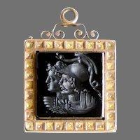 Victorian 14K Rose Gold Agate Locket Pendant