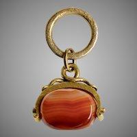 Victorian 14K Gold Carnelian Swivel Pendant