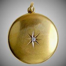 Victorian 10K Gold Locket Pendant with Diamond