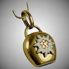 Vintage 18K Gold Enamel Cow Bell Charm