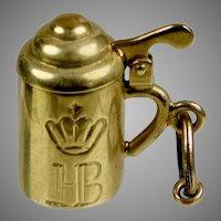Vintage 14K Gold Covered Tankard Mug Charm