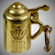 Vintage 14K Gold Covered Tankard Mug Charm