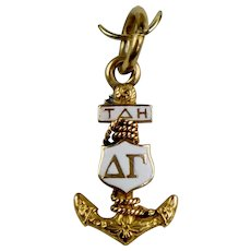 Vintage 14K Gold Delta Gamma Tau Anchor Charm