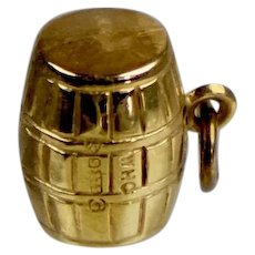 Vintage English 9K Gold Barrel Charm