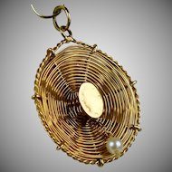 Vintage 14K Gold Straw Hat Charm
