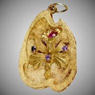 Vintage Large 14K Rose Gold Orchid Charm