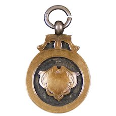 Antique Sterling Gold  English Medal Charm Fob Pendant