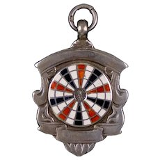 English Sterling Enamel Darts Target Medal Charm Fob