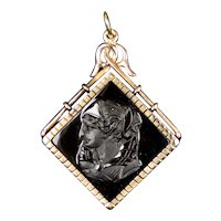 Intricately Carved Victorian 14K Gold Onyx Pendant Charm