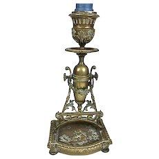 Special Antique Gilt Bronze Candlestick Cherub