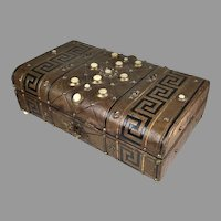 Antique English Leather Games Box MOP Accents