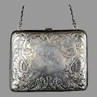 Art Nouveau Sterling Silver Purse or Card Case with Handle