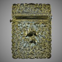 Rare 19th C Calling Card Case Indian Solid Silver