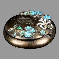 Art Nouveau Sterling Silver Rouge Pot or Pill Box
