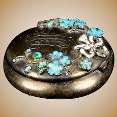 Art Nouveau Sterling Silver Rouge Pot or Pill Box