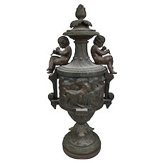 Antique 19th Century Cherubs Putti Bronzed Lidded Urn