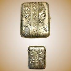 French Antique Silver Cigarette Case & Match Case Set In Box