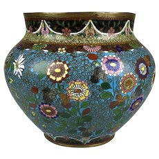 Antique Japanese Cloisonne Enamel Vase Very Detailed