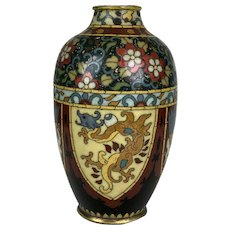 Antique Vibrant Japanese Intricate Cloisonne Enamel Vase